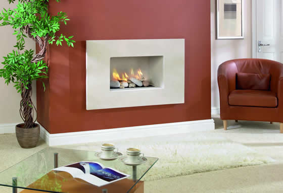 Hole in the wall limestone modern fireplace