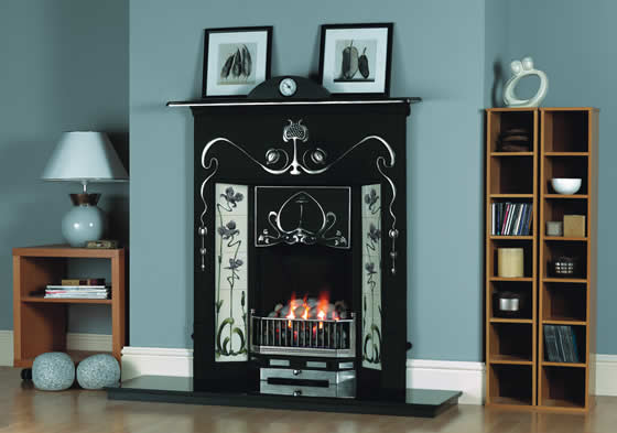 Contemporary cast iron fireplace